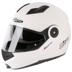 Nitro F345 Uno Flip Front Motorcycle Helmet Gloss White