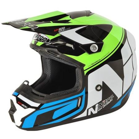 Nitro MX600 Holeshot Motocross Helmet Black/Green