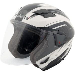 Duchinni D205 Open Face Motorcycle Helmet White/Carbon