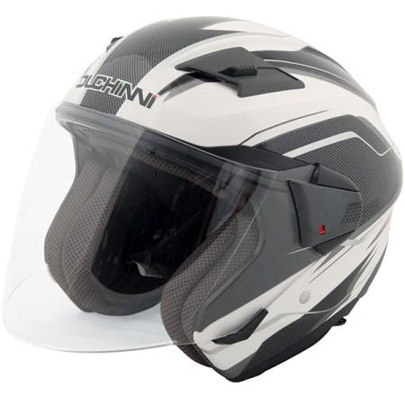Duchinni D205 Open Face Motorcycle Helmet - White/Carbon