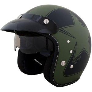Duchinni D501 Garage Open Face Motorcycle Helmet Green