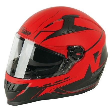 Nitro N2200 Analog Motorcycle Helmet - Matt Red