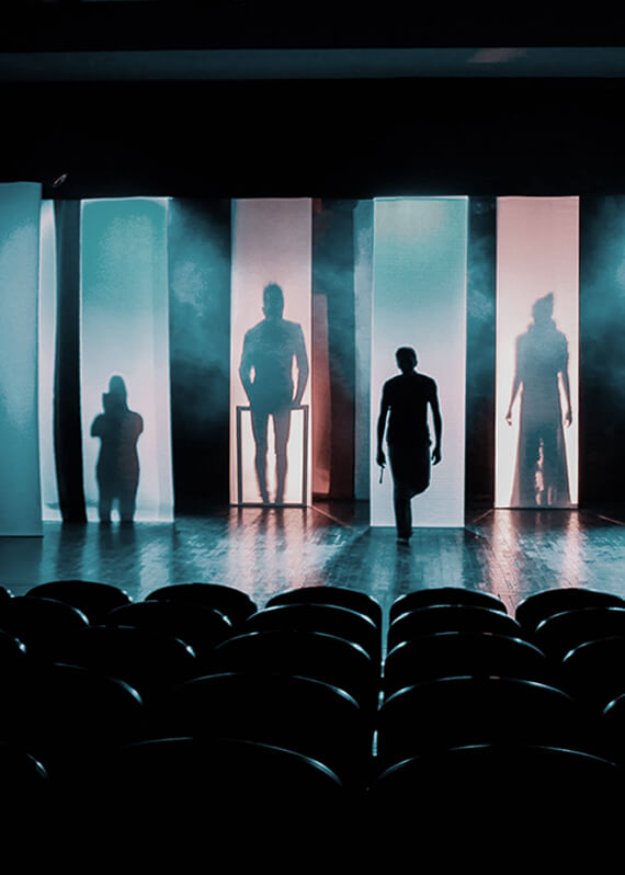 A people on the stage of the theater