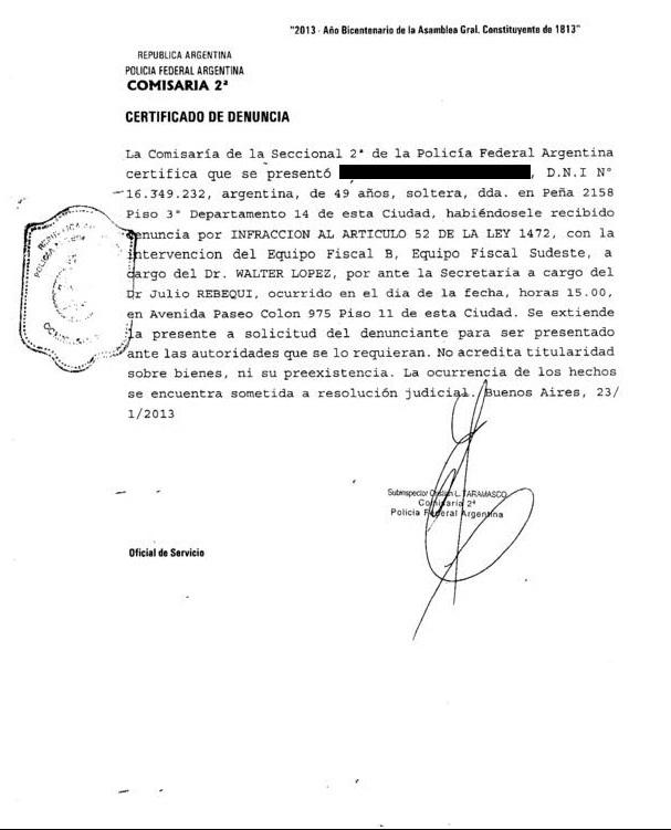 Copia de la denuncia presentada