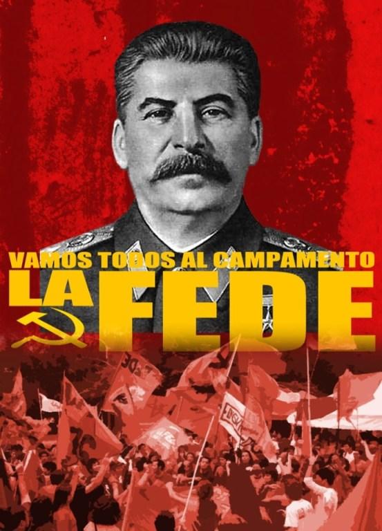 Flyer de un militante de la FJC llamando al campamento.