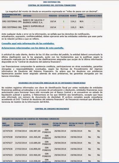 Cheques rechazados de DRS SRL, según BCRA