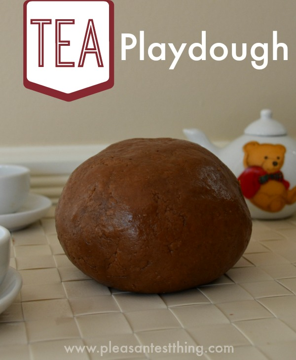 Tea playdough: No bake and only 5 ingredients. Great playdough for tea parties!