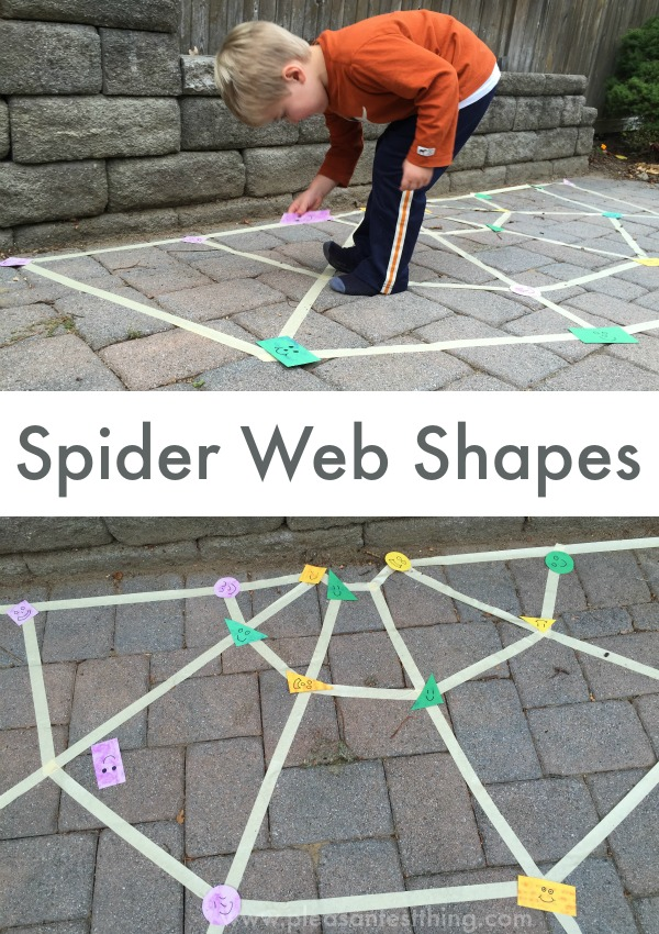 Spider Web Shape Game - get moving and practice shapes! Fun game for Halloween!