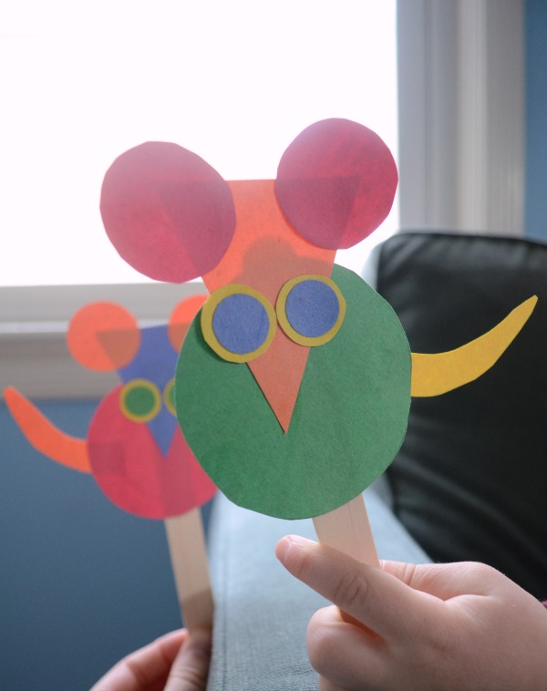 Practice shapes with Mouse Shapes puppets!