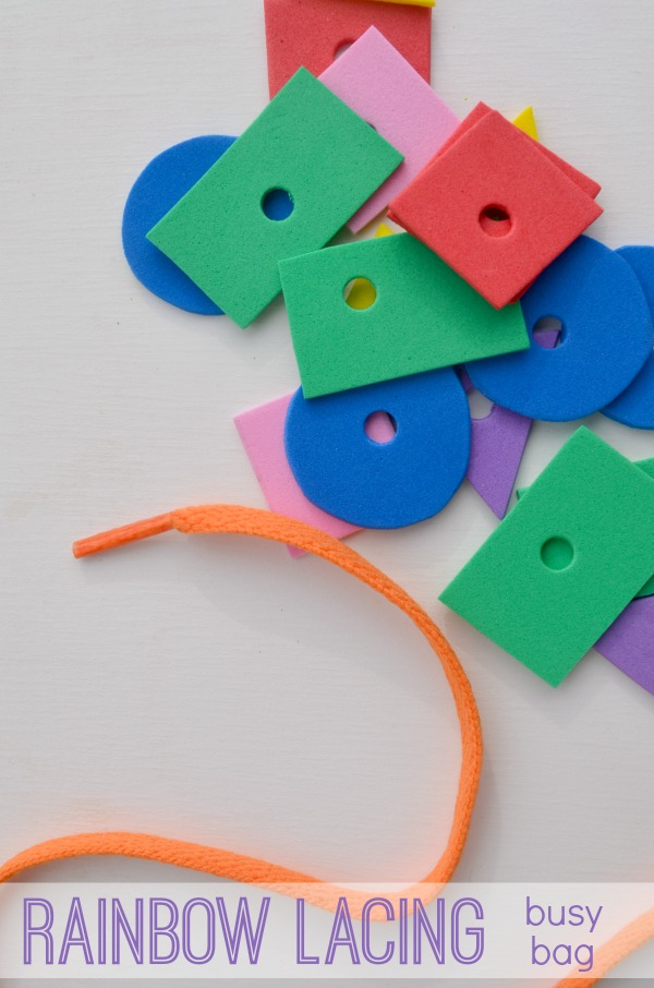 Rainbow lacing busy bag! Fun idea to practice shapes and fine motor skills for preschoolers!