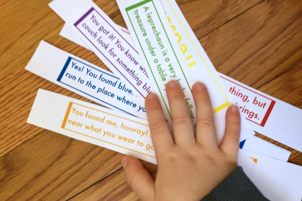 Go on a Rainbow Treasure hunt! These free printable clues are a fun St. Patrick's Day activity