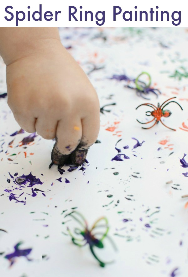 Halloween painting idea - FUN way to play and create with spider rings!