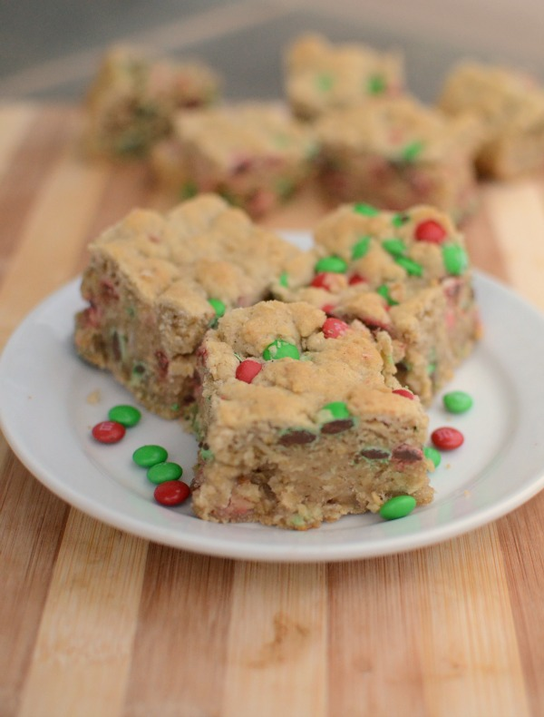 Yummy holiday treat! Oatmeal bars with red and green M&M's!