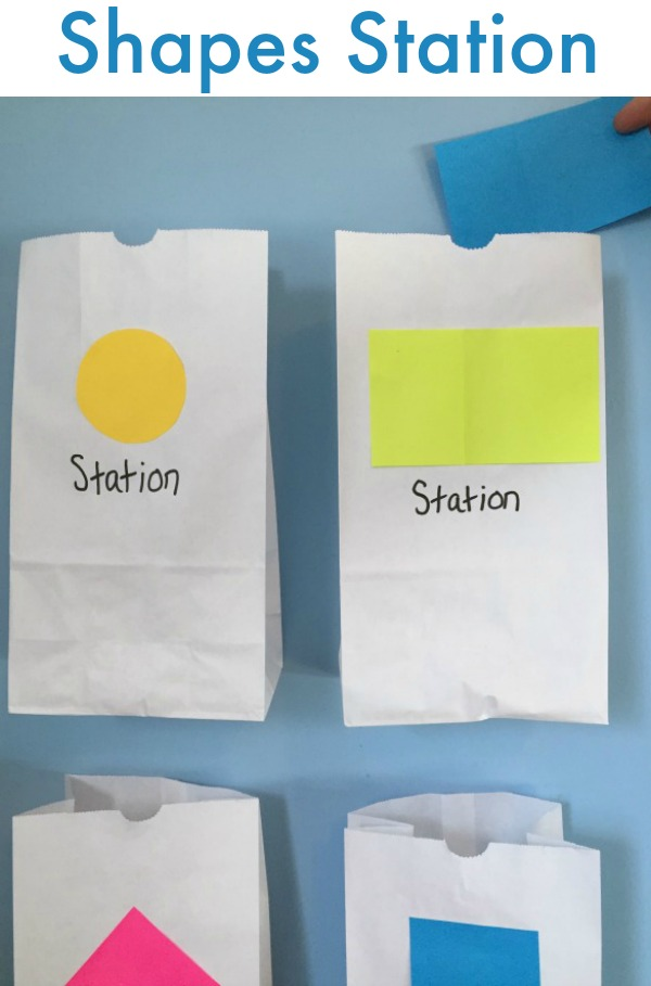 Make a shapes train station - fun activity for kids to practice shapes!