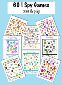 60 I Spy games for kids! Perfect to print and play!!