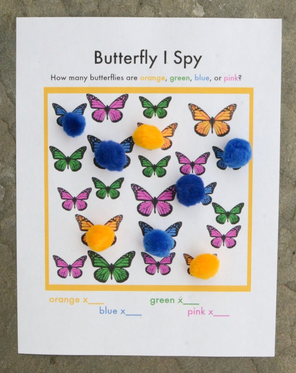 I Spy game for kids - print this free Butterfly I Spy game!