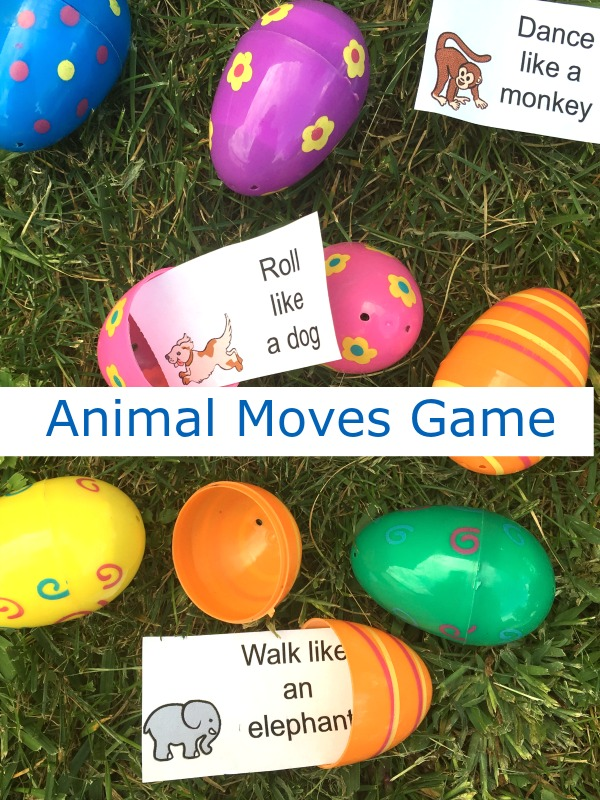 Printable animal moves gross motor game!