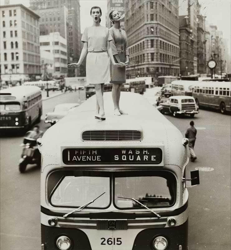 """The Skirt's the Thing,"" Dovima and Jean Patchett, Madison Square, Harper's Bazaar, 1958. © 2014 William Helburn"