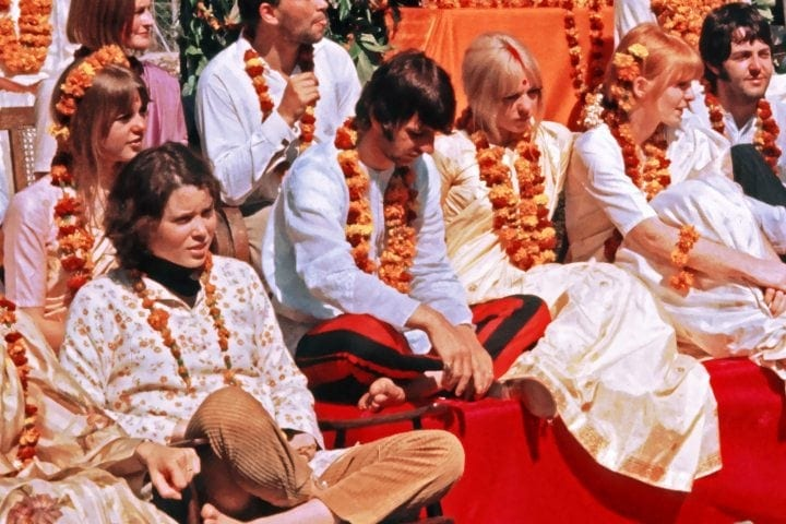 Preudence Farrow with Ringo Starr and the Maharishi The Beatles and their wives at the Rishikesh in India with the Maharishi Mahesh Yogi, March 1968. Credit: Colin Harrison/Avico