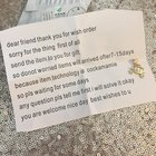 INAy9rm4AIzUfJaENTSLEC1EI9rPSCiW5UL332 M7go There was a mix up with an item I ordered from China, so the seller sent me a note and a little gift to tide me over until the correct item arrived. 10/10 apology.