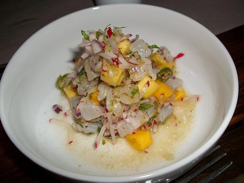 Ceviche with tomatillo, red onion, chile, mango
