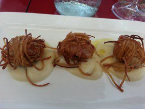 Erbaluce Escargot with Pancetta Wrapped in Soy Spaghetti with Creme of Fava Bean