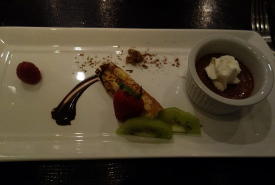 Chestnut Crepe, Chocolate Pot De Crème, Seasonal Fruit