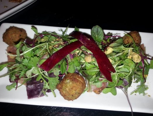 Roasted Beets with pistachio crusted goat cheese, honey