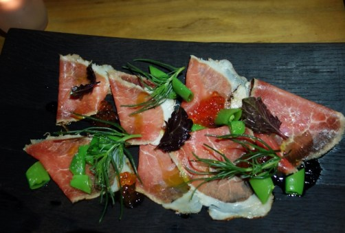 Salt & Sugar Cured Beef with Smoked Trout Roe, Sugar Snap Peas, Thai Basil, Agretti