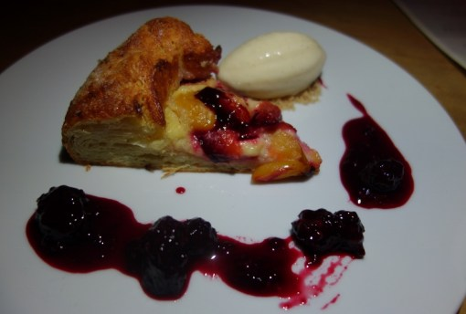 Santa Rosa Plum Crostata with lavender, pastry cream, blackberry compote, vanilla ice cream