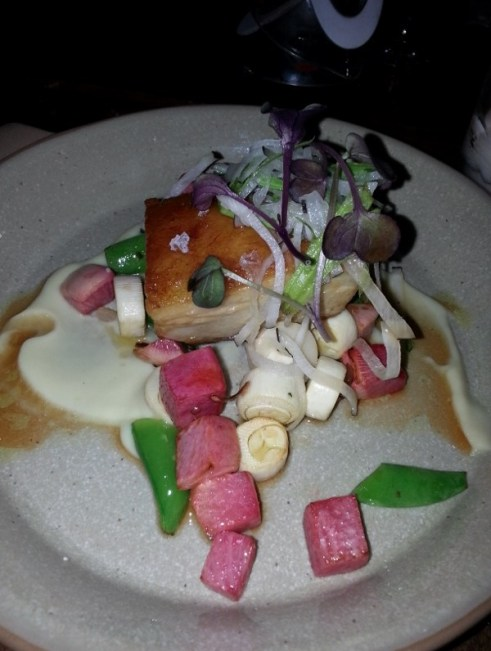 Slow cooked pork belly, watermelon radish and hearts of palm