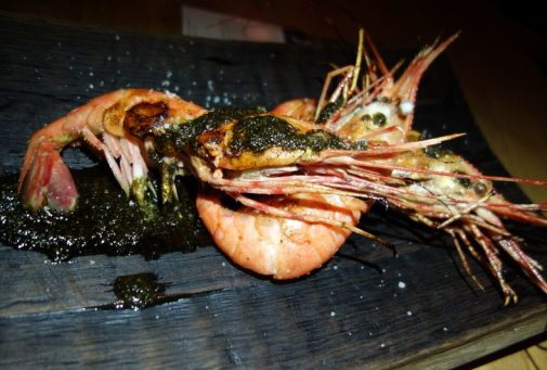 Wild Spot Prawns with buttermilk, grilled black kale pesto