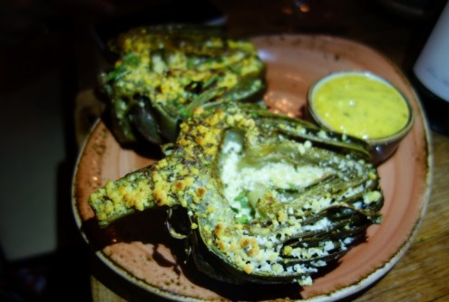 Baked Artichoke, fresh thyme, parmigiano, Mediterranean style mayo)