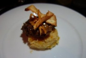 Citrus Braised Pork Cheek, Cornbread Pudding and Orange Pepper Jelly Glace