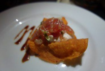 Spicy Ahi Tuna Tartare, Sweet Potato Chips and Pickled Ginger