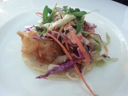 Baja Style Tacos (Fried cod, cabbage slaw, pico de gallo, sour cream, spicy chipotle aioli)