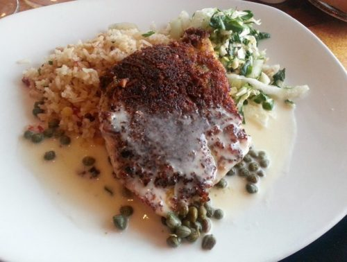 Parmesan & Herb Crusted Opa (sauteed with panko, macademia nuts, lemon and capers, brown rice, bok choy Asain slaw)