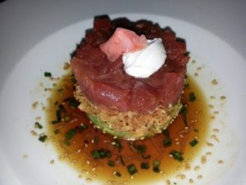 Ahi Tuna Tartare with Avocacdo and Ginger Ponzu