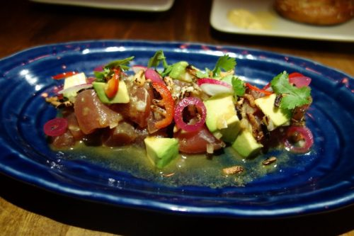 Yellowfin poke with avocado, pickled fresno, pearl onion, anchovy (1)