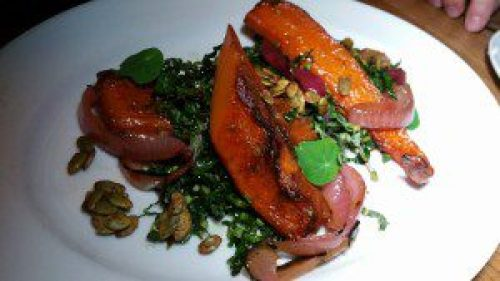 Roasted Squash, blue cheese, charred red onion and pumpkin seeds