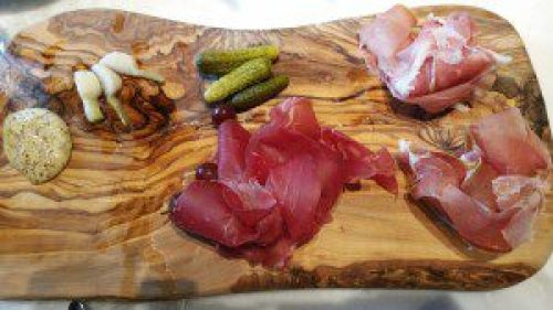 Charcuterie Board (Prosciutto di Parma, Jamon Serrano, Bresaola) with homemade wholegrain mustard, pickled vegetables
