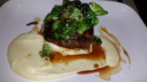 Green Valley Farm Beef Striploin with Brussels, Olive Oil Potatoe Puree