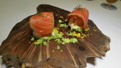Globes of filo dough, house cured and smoked salmon with dill snow and creme fraiche
