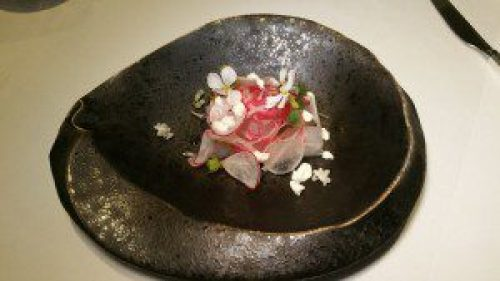 Sashimi of white fish, radish, lime, burdock, shallots yogurt powder