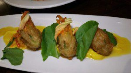 Halibut Brandade Stuffed Zucchini Blossom (sweet pepper salad, rouille)