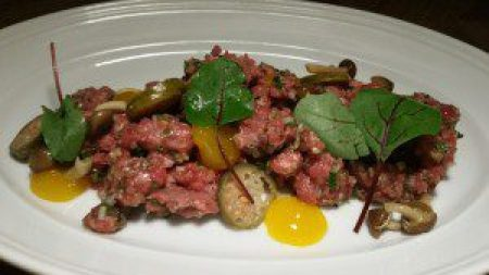 Hand-Ground Steak Tartare, Roasted Mushroom Conserve, Egg Yolk, Caperberries