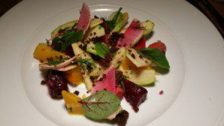 Rainbow Beet & Apple Salad, Horseradish Creme Fraiche, Dill, Pumpernickel Crisps
