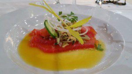 Saturday Lunch - Salma Salmon, Coctail Orange Ginger Lemonade Passion Fruit Sake, Fresh Herbs
