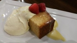 White chcolate pound cake with lemon mousse