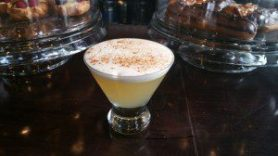 Delicious Apple Sour (apple-infused cocchi americano, meyer lemon, egg white, cinnamon)